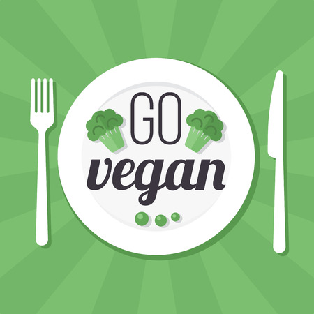 Vector go vegan poster, banner or flyer concept. Flat style.