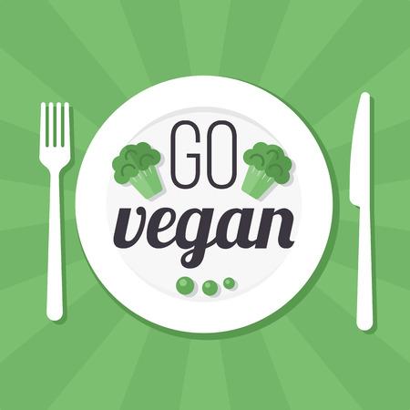 Vector go vegan poster, banner or flyer concept. Flat style.