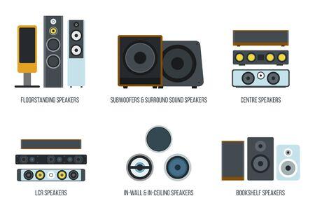 Set of different loudspeakers on white backdrop design illustration. Illustration