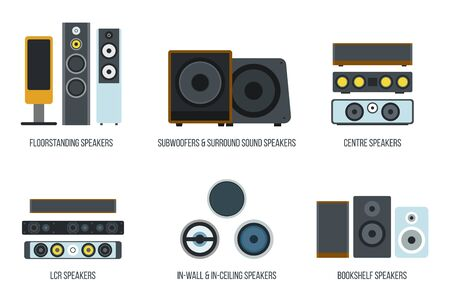 Set of different loudspeakers on white backdrop design illustration. Vettoriali