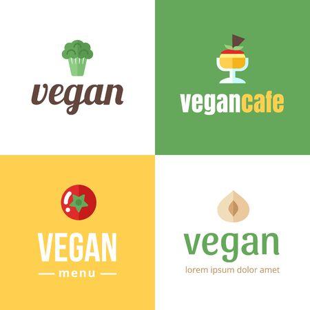 Set of banner for vegan cafe, shop, store, bar, restaurant, blog etc.