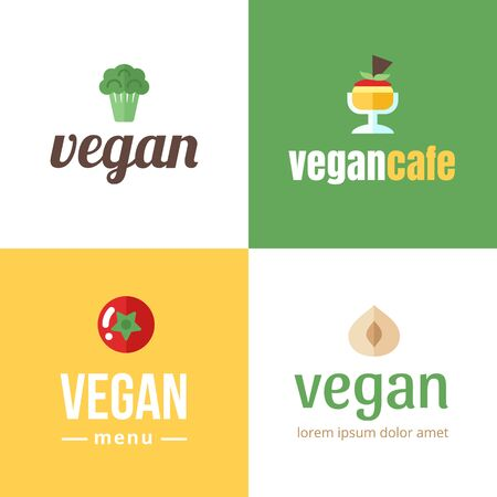 Set of banner for vegan cafe, shop, store, bar, restaurant, blog etc.