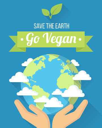 Go Vegan poster, banner or design template, illustration.