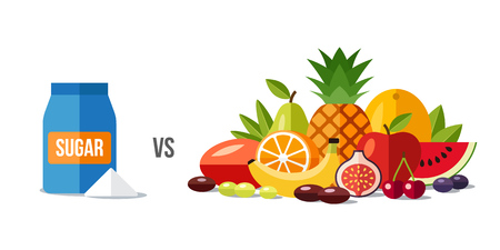 Vector illustration of sugar vs. fruits. Healthy eating concept. Flat style.