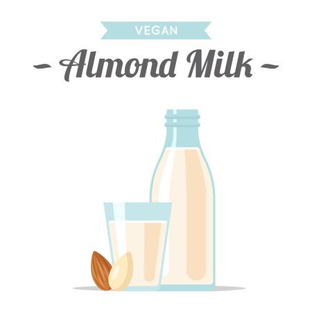 illustration vectorielle de lait d & # 39 ; amande avec des noix. illustration de style plat