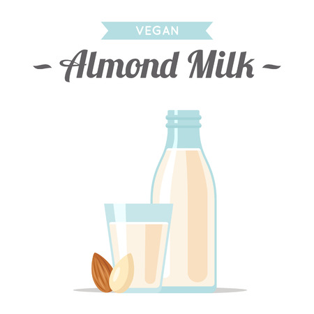 Vector illustration of almond milk with nuts. Flat style illustration.