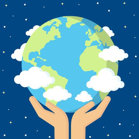 宇宙で地球を丁寧に保持する人間の手のベクトルイラスト。フラットスタイル。