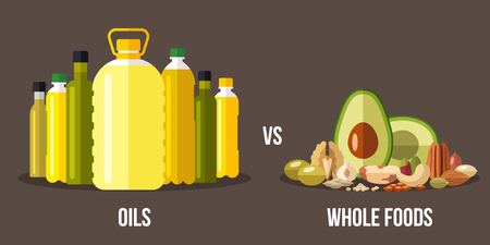 Vector illustration of cooking oils vs. high-fat whole foods. Healthy eating concept. Flat style. 일러스트
