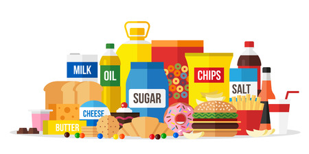 Vector illustration of processed food. Flat style. Vettoriali