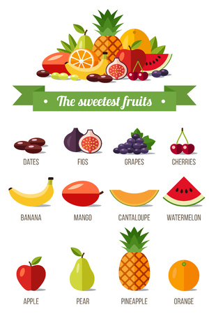 The sweetest fruits. Vector infographics. Flat style illustration.