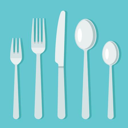 Vector cutlery set flat style. Vettoriali