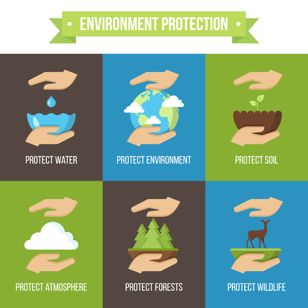 Vector set of environment protection icons. Flat style. Vettoriali