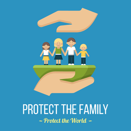 Protect the family. Vector poster or banner template. Flat style. Reklamní fotografie - 98515394