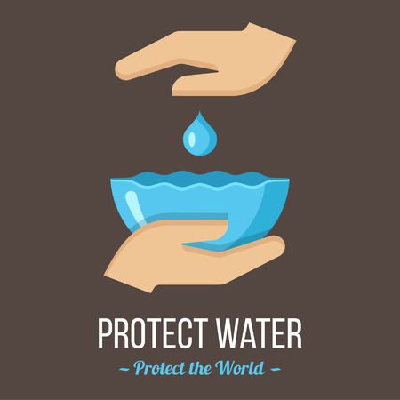 Protect water. Vector poster or banner template. Flat style.