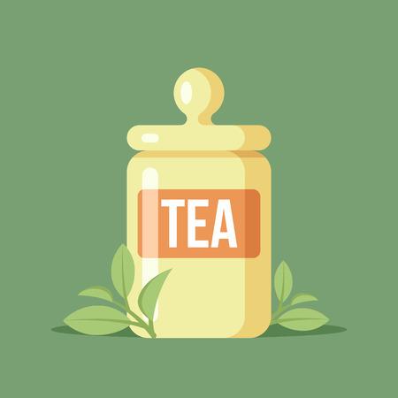 Illustration of tea jar with leaves of green tea. Illustration
