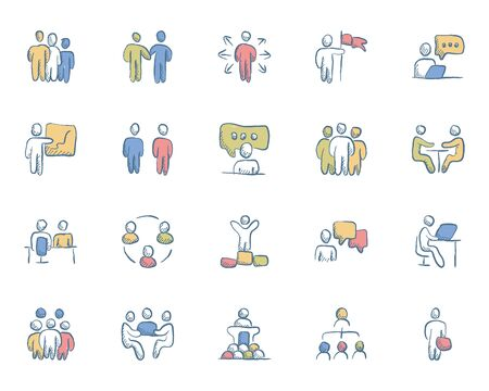 Business Peoples Hand Drawn Color Flat Icons