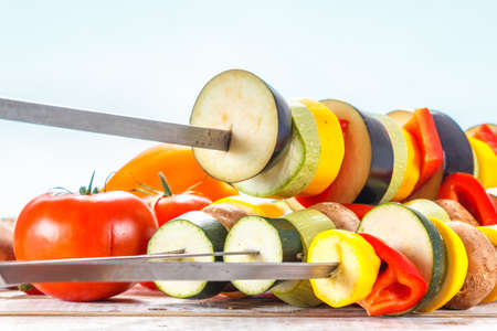 Fresh and delicious barbecue with skewers with vegetables. Stok Fotoğraf