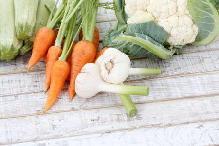 Fresh vegetables on a wooden background Stok Fotoğraf