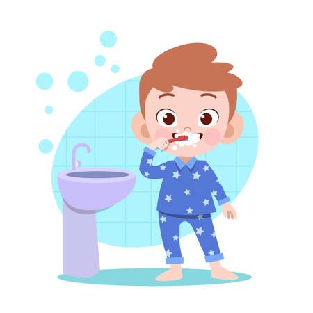 kid brushing teeth vector illustration