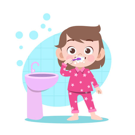 kid brushing teeth vector illustration