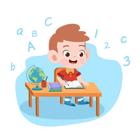 kid studying vector illustration