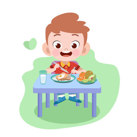 kid eating vector illustration