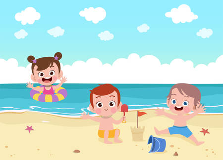 kid play in beach summer holiday