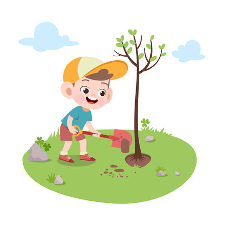 kid boy planting tree vector illustration