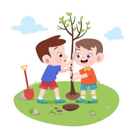 kids boys planting tree vector illustration