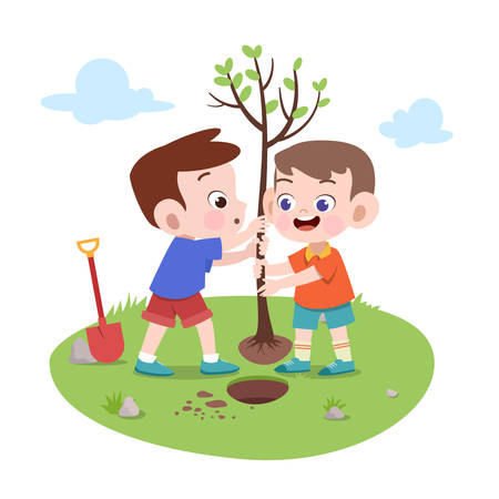 kids boys planting tree vector illustration