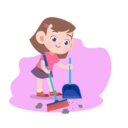 kid girl sweeping broom vector illustration
