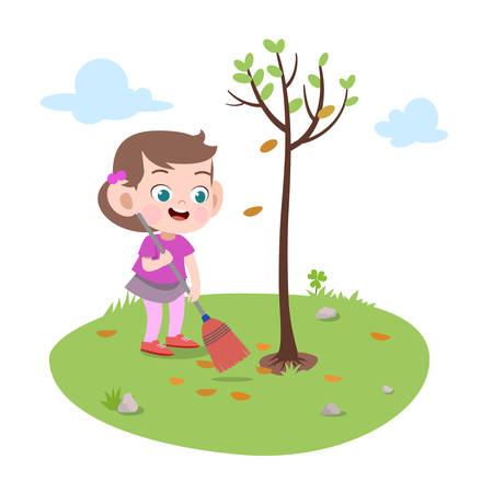 kid girl planting tree vector illustration