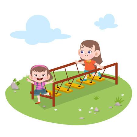 kids children playing playground vector illustration