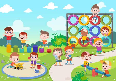 niños, niños, juego, patio de recreo, vector, ilustración