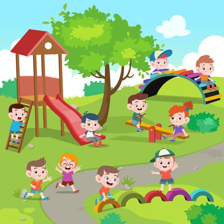 niños, niños, juego, patio de recreo, vector, ilustración Ilustración de vector