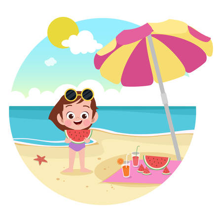 kid girl playing on the beach vector illustration