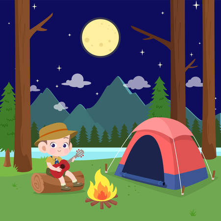 kids scouts at camp vector illustration