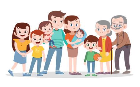 Ilustración de vector de familia feliz aislado