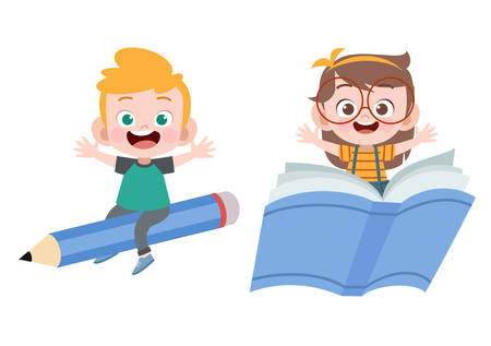 kids book pencil vector illustration isolated Illustration