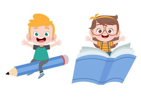 kids book pencil vector illustration isolated Illustration