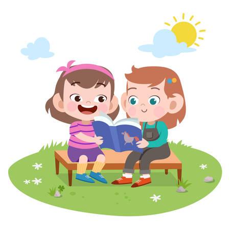 Les filles des enfants lisent l'illustration vectorielle du livre