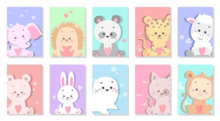 cute baby animal greeting card vector illustration Ilustração