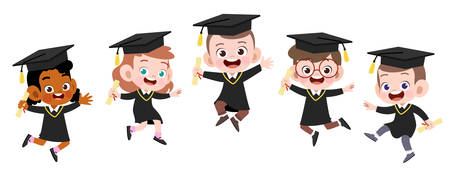 happy kids graduation vector illustration isolated