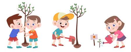 niños plantando ilustración de vector de árbol aislado