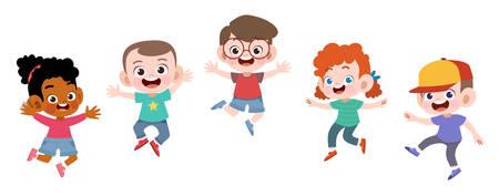 Happy school kids jump vector illustration isolé