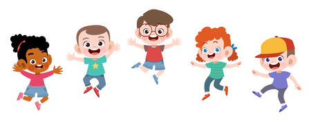 happy school kids jump vector illustration isolated