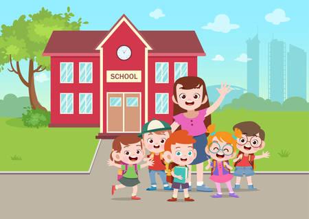 teacher and student go to school vector illustration Stockfoto - 122391369