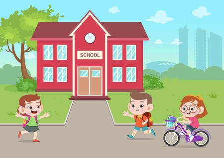 kids go to school vector illustration