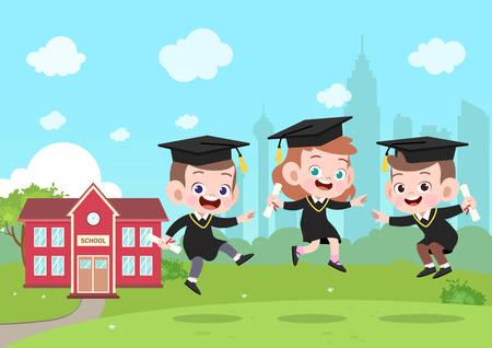 Ilustración de vector de graduación de niños