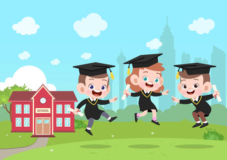 Kinder-Abschluss-Vektor-Illustration